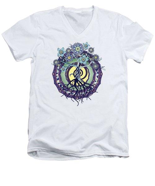 Men's V-Neck T-Shirt featuring the digital art Tree Of Enlightenment Abstract by Deborah Smith