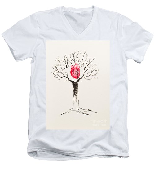 Tree Of Hearts Men's V-Neck T-Shirt by Stefanie Forck
