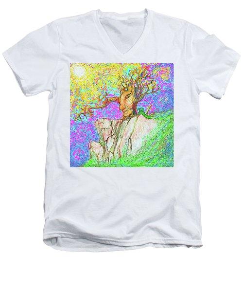 Tree Touches Sky Men's V-Neck T-Shirt by Hidden Mountain and Tao Arrow