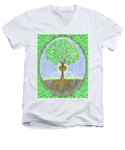Tree With Heart And Sun Men's V-Neck T-Shirt