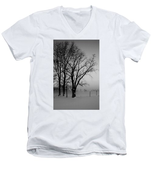 Men's V-Neck T-Shirt featuring the photograph Trees In The Fog by Karen Harrison