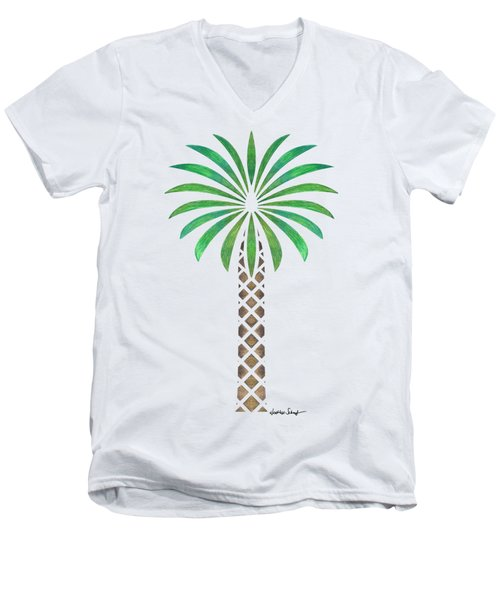 Tribal Canary Date Palm Men's V-Neck T-Shirt by Heather Schaefer
