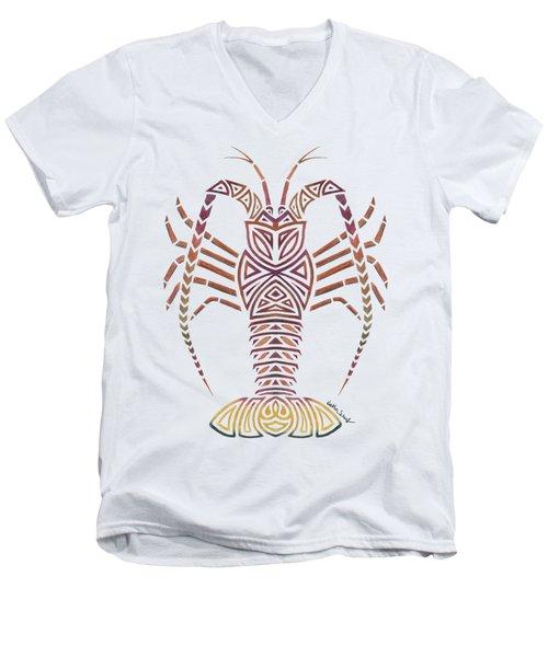 Tribal Caribbean Lobster Men's V-Neck T-Shirt