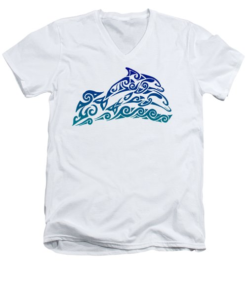 Tribal Dolphins Men's V-Neck T-Shirt