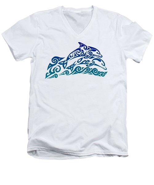 Tribal Dolphins Men's V-Neck T-Shirt