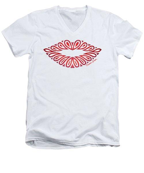 Tribal Lips Men's V-Neck T-Shirt