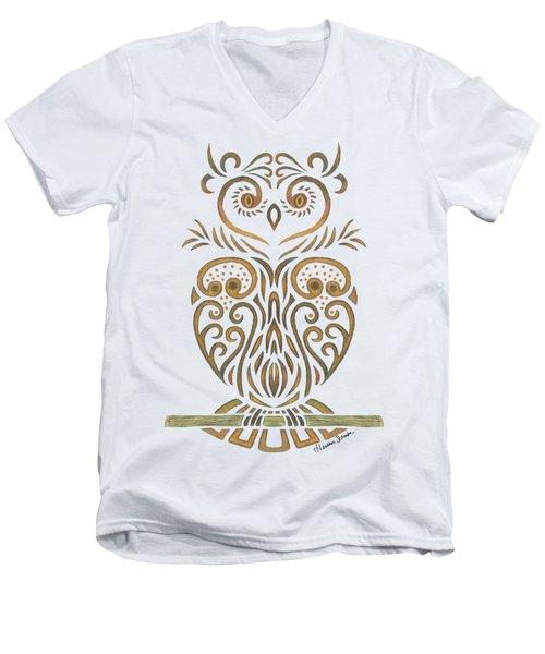 Tribal Owl Men's V-Neck T-Shirt