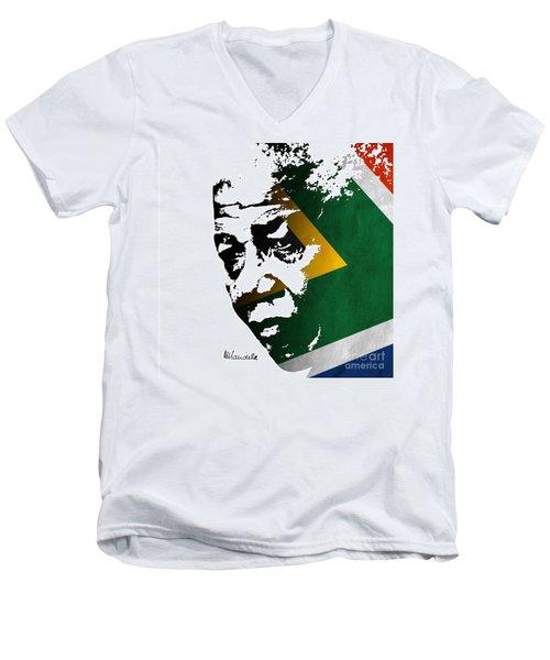 tribute to Nelson Mandela Men's V-Neck T-Shirt by Rudi Prott
