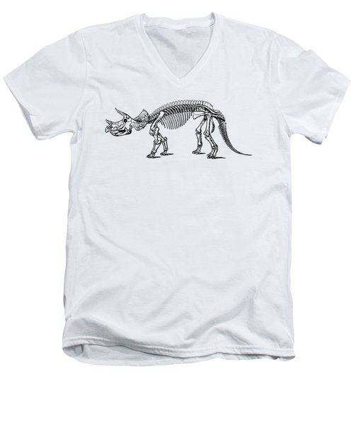 Triceratops Dinosaur Tee Men's V-Neck T-Shirt by Edward Fielding