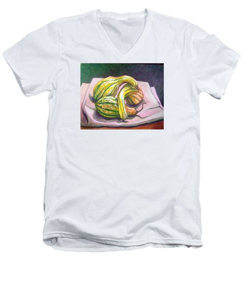 Men's V-Neck T-Shirt featuring the painting Gourd Grouping by Laura Aceto