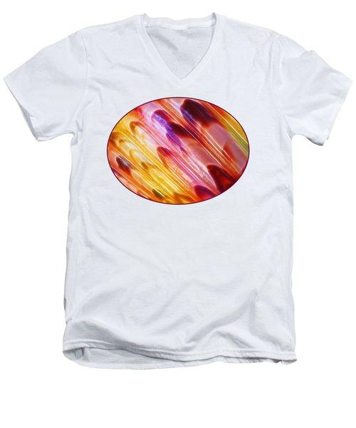 Triton Seashell Multicolor Abstract Men's V-Neck T-Shirt by Gill Billington