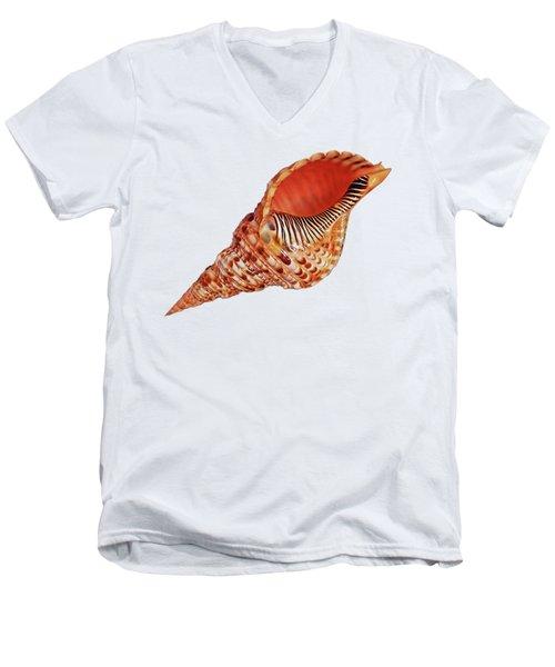 Triton Shell On White Men's V-Neck T-Shirt