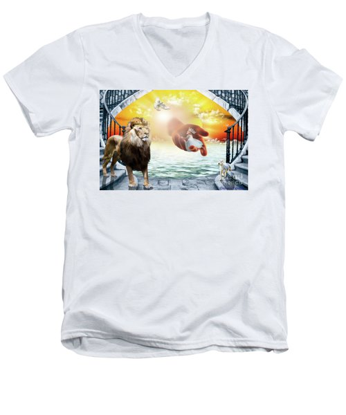 Men's V-Neck T-Shirt featuring the digital art Triune Protection by Dolores Develde