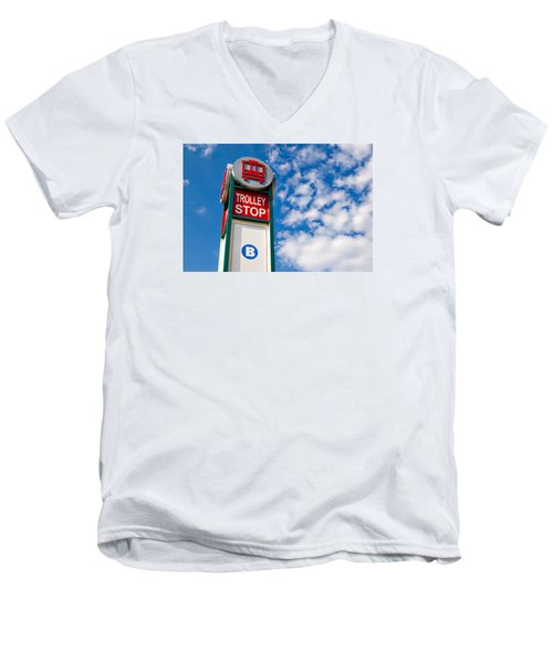 Men's V-Neck T-Shirt featuring the photograph Trolley Stop by Bob Pardue