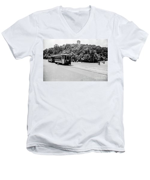 Men's V-Neck T-Shirt featuring the photograph Trolley With Cloisters by Cole Thompson