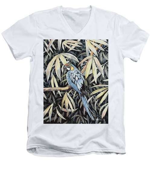 Men's V-Neck T-Shirt featuring the painting Tropical Adventure by Martha Ayotte