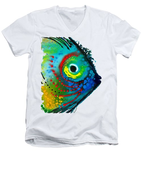 Tropical Fish - Art By Sharon Cummings Men's V-Neck T-Shirt by Sharon Cummings