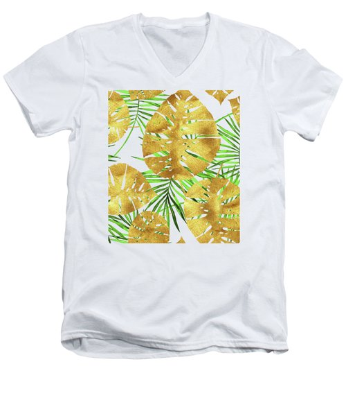 Tropical Haze II Gold Monstera Leaves And Green Palm Fronds Men's V-Neck T-Shirt