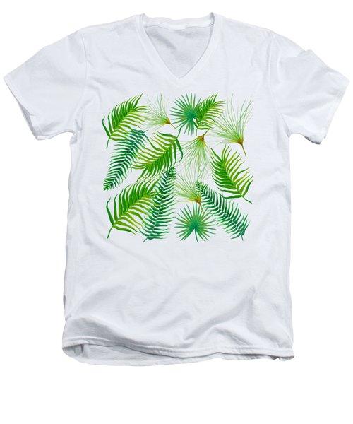 Tropical Leaves And Ferns Men's V-Neck T-Shirt by Jan Matson