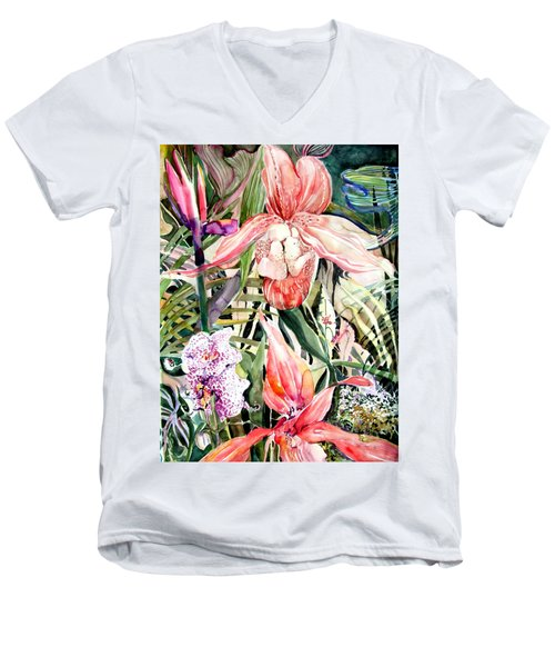 Tropical Orchids Men's V-Neck T-Shirt by Mindy Newman