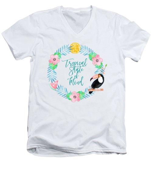 Tropical State Of Mind Teal Men's V-Neck T-Shirt