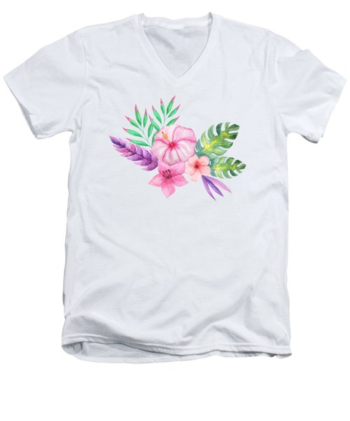Tropical Watercolor Bouquet 1 Men's V-Neck T-Shirt