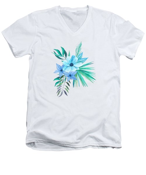 Tropical Watercolor Bouquet 10 Men's V-Neck T-Shirt