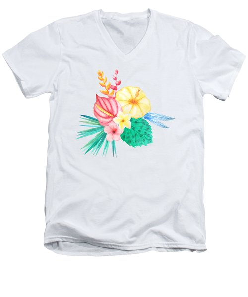 Tropical Watercolor Bouquet 2 Men's V-Neck T-Shirt