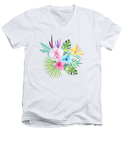 Tropical Watercolor Bouquet 3 Men's V-Neck T-Shirt