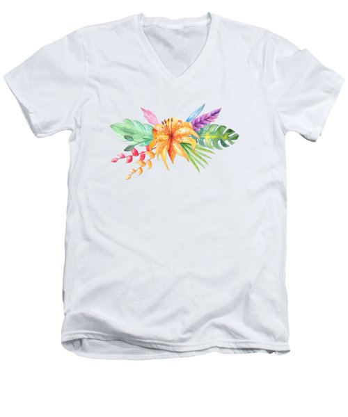 Tropical Watercolor Bouquet 4 Men's V-Neck T-Shirt