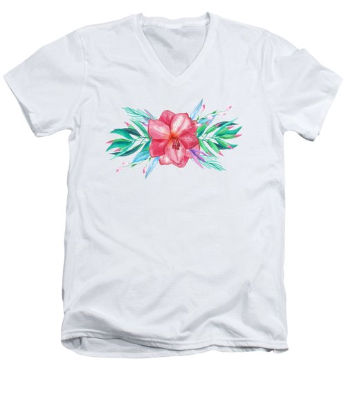 Tropical Watercolor Bouquet 5 Men's V-Neck T-Shirt