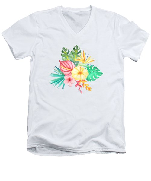 Tropical Watercolor Bouquet 6 Men's V-Neck T-Shirt