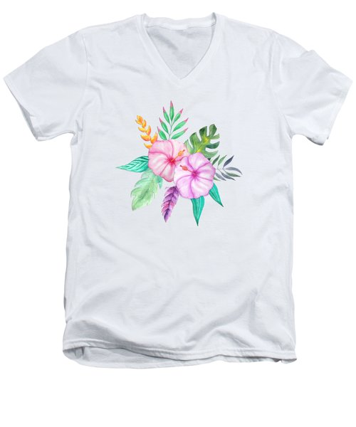 Tropical Watercolor Bouquet 78 Men's V-Neck T-Shirt