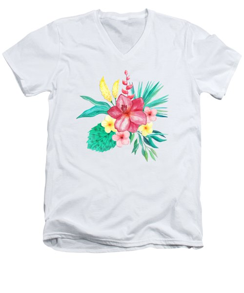 Tropical Watercolor Bouquet 9 Men's V-Neck T-Shirt