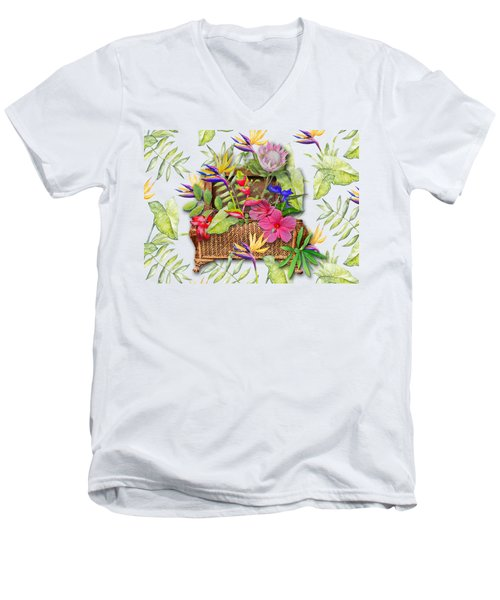 Tropicals In A Basket Men's V-Neck T-Shirt