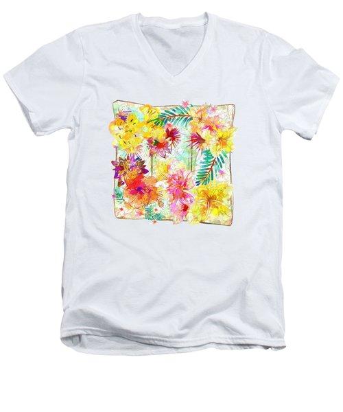 Tropicana Abstract By Kaye Menner Men's V-Neck T-Shirt by Kaye Menner
