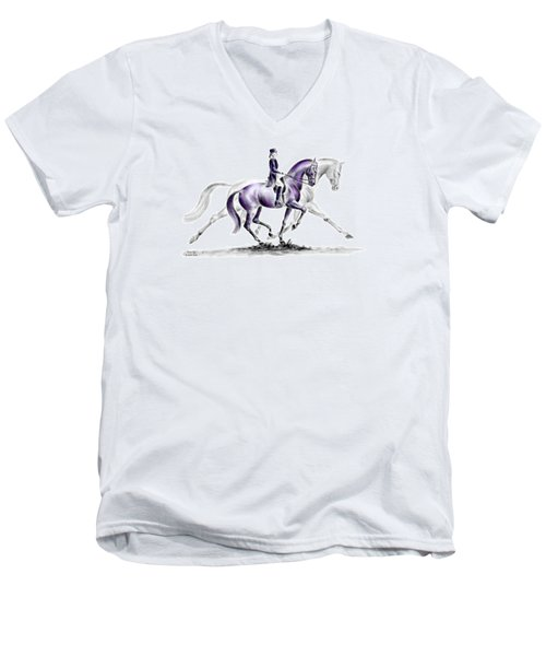 Men's V-Neck T-Shirt featuring the drawing Trot On - Dressage Horse Print Color Tinted by Kelli Swan