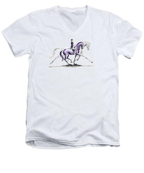 Trot On - Dressage Horse Print Color Tinted Men's V-Neck T-Shirt