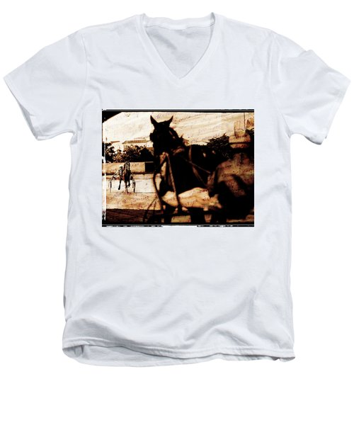 Men's V-Neck T-Shirt featuring the photograph trotting 1 - Harness racing in a vintage post processing by Pedro Cardona