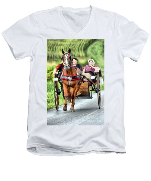 Men's V-Neck T-Shirt featuring the photograph Trotting Along by Polly Peacock