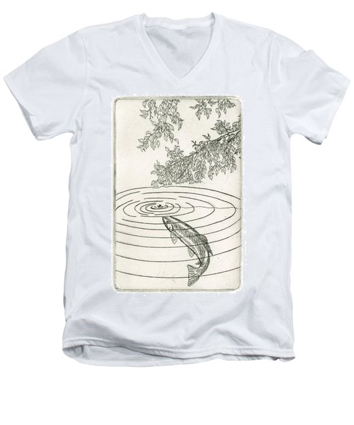 Trout Rising To Dry Fly Men's V-Neck T-Shirt by Charles Harden