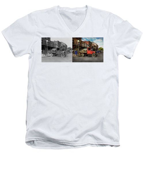 Men's V-Neck T-Shirt featuring the photograph Truck - Home Dressed Poultry 1926 - Side By Side by Mike Savad