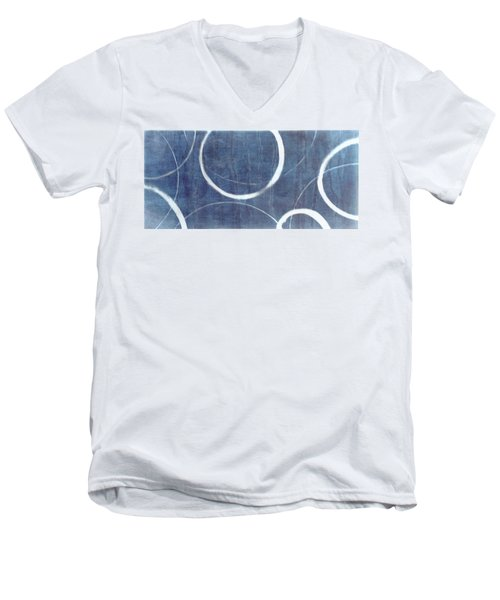 Men's V-Neck T-Shirt featuring the painting True Blue Ensos by Julie Niemela