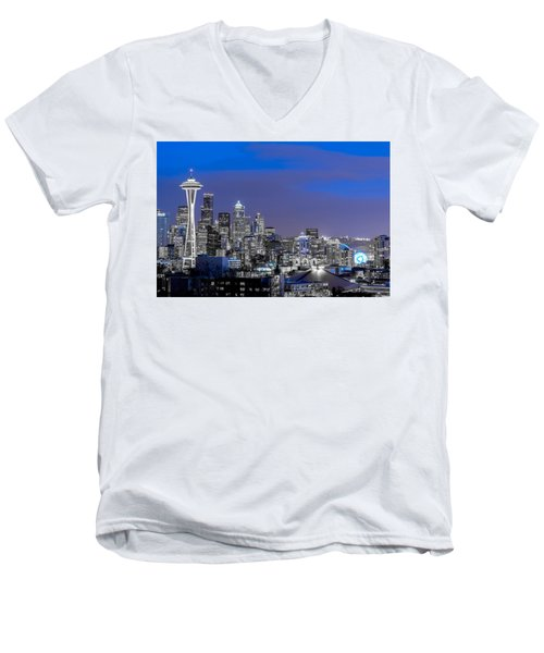 True To The Blue In Seattle Men's V-Neck T-Shirt by Ken Stanback