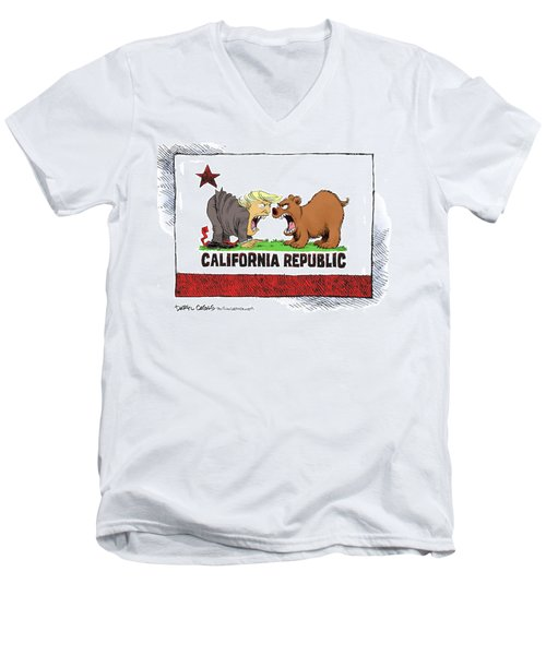 Men's V-Neck T-Shirt featuring the drawing Trump And California Face Off by Daryl Cagle