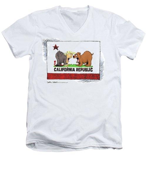 Trump And California Face Off Men's V-Neck T-Shirt