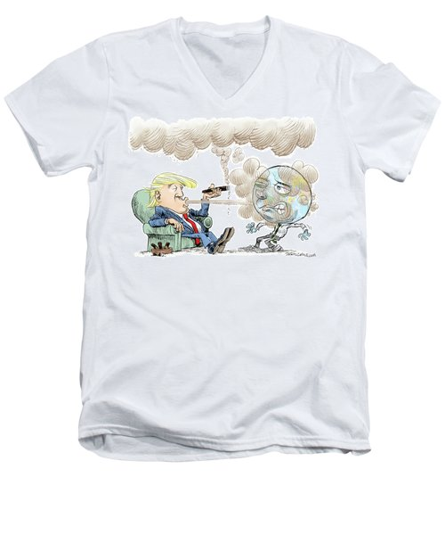Trump And The World On Climate Men's V-Neck T-Shirt