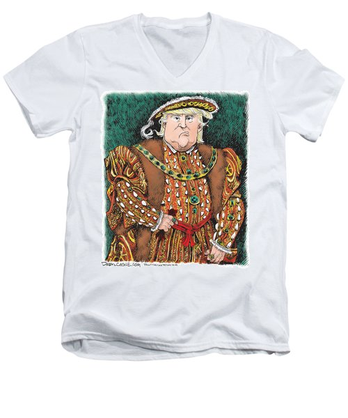 Men's V-Neck T-Shirt featuring the drawing Trump As King Henry Viii by Daryl Cagle