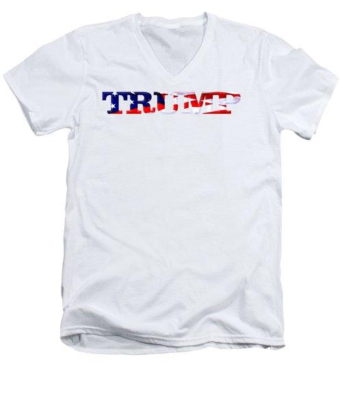 Trump - Fort Mchenry Flag Overlay Men's V-Neck T-Shirt