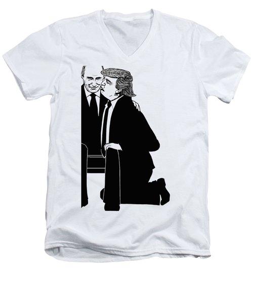 Trump On Knees Men's V-Neck T-Shirt